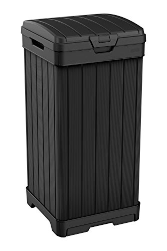Keter Baltimore 38 Gallon Trash Can with Lid and Drip Tray for Easy Cleaning-Perfect for Patios,...
