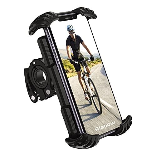 自転車 スマホ ホルダー Riapow 携帯スタンド 片手操作 360°回転 GPSナビ バイクスマホホルダー オートバイホルダー 全面保護 耐衝撃 振れ止め 脱落防止 取り付け簡単 耐久性 4.9~6.9インチ適用 iphone/Samsung/ HUWEI/android 多機種対応