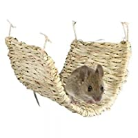 100% Natural Hammock made from Grass a great accessory for any Rats, Ferrets, Degu & Other Small Animals Cage Safe for your Pet to Chew. With Loops for Hanging Inside the Cage Approx Size: Length 40cm x Width 28cm