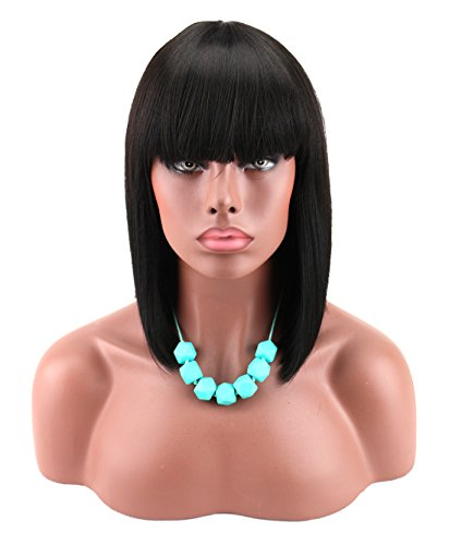 Kalyss Women's Black Color Short Bob Wig with Hair Bangs Yaki Synthetic Full Hair Wig Heat Resistant Short Straight Black Wig for Women