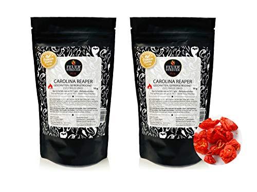Carolina Reaper, gefriergetrocknet - FeuerStreuer Pur - Zip-Beutel mit Aromaschutz - 2x 10g - Das ideale Geschenk für Chili-Fans