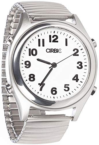Talking Watch with Large Numbers and Expandable Strap, self-Setting for Visually impaired, Blind or Elder People (Silver)