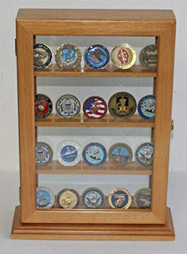 4 Shelves Military Challenge Coin Medal Pin Display Stand Case - Coin14-OA