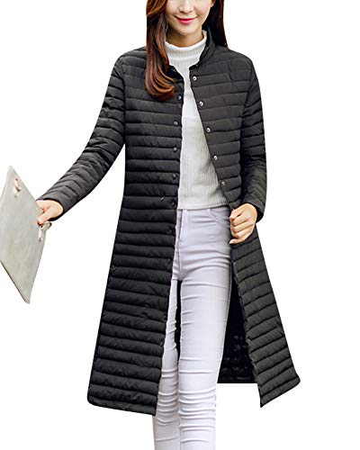 Femme Doudoune Longues Veste Duvet Manteau Chaud Hiver Ultra Légère Compressible Blouson Noir 2XL