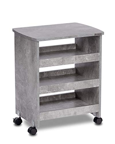 ts-ideen Beistelltisch auf Rollen Ablage Servierwagen Rollcontainer Bücherbord Beton Grau 37 x 49 cm