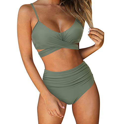 RUUHEE Women Criss Cross High Waisted String Floral Printed 2 Piece Bathing Suits (L(US Size 8-10), Army Green)
