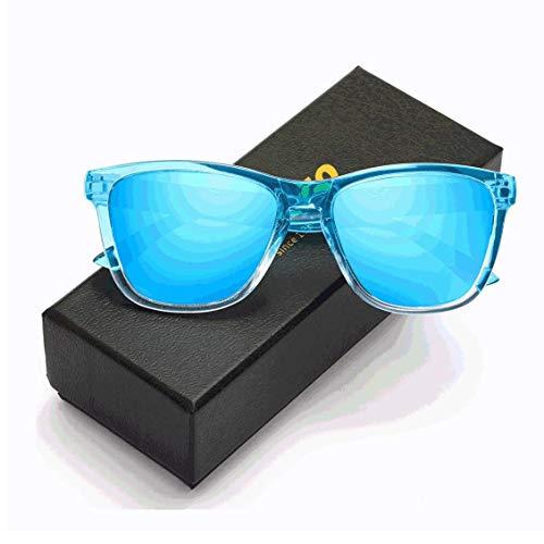 KEAKUO Sonnenbrille Herren Polarisierte Retro Sonnenbrille Damen - Sonnenbrille Herren damen Polarisiert Mode Farblinse Farbverlauf Designer HD Polarisierte UV400-Schutz K1805 (Cyan-blau, 60)