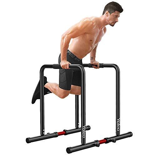 YOLEO Station De Musculation Barres Dip Parallèles avec Barre de Largeur Ajustable - pour Les Entraînements de...