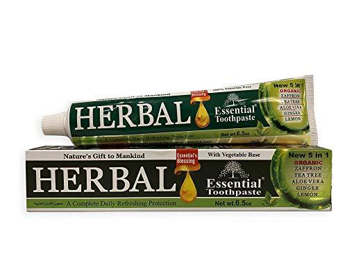Essential Palace (6 - Pack) Herbal Whitening Toothpaste - Refreshing with Zaffron, Tea Tree Oil, Aloe Veera, Ginger, Lemon - Natural Fresh Mint - Non GMO, Fluoride Free, Gluten Free - 6.5 Oz