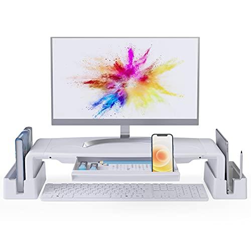 COKWEL Supporto Monitor Scrivania,Supporto Schermo PC, Riser per Monitor Pieghevole, per Stampante, Computer, TV, Laptop, Lunghezza Regolabile con Grande Cassetto e Gestione dei Cavi, Bianco