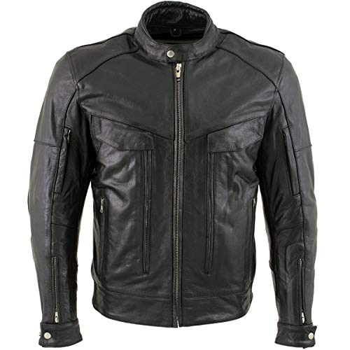 Xelement B7496 'Bandit' Men's Retro Distressed Brown Leather Jacket with X-Armor Protection - Large