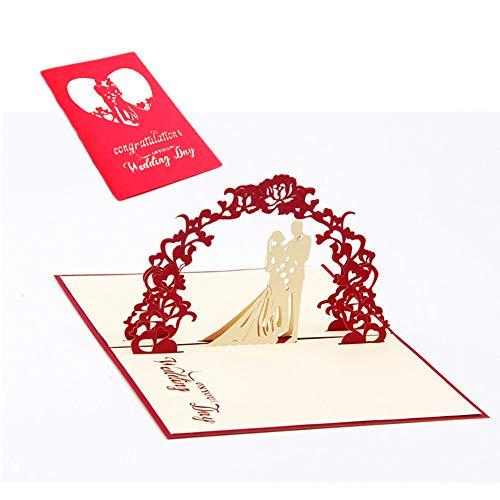 Icyang, 5 biglietti di auguri pop-up 3D per congratulazioni, matrimonio, fatti a mano, con ghirlanda tridimensionale per sposi, cartoline di ringraziamento, colore rosso