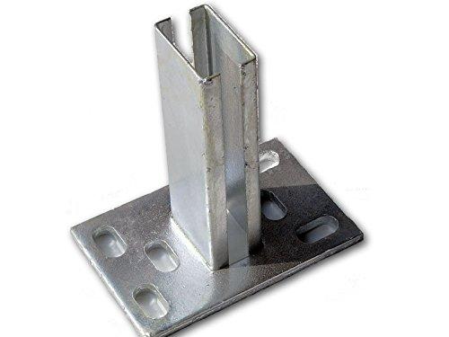 Zaun-Nagel Bodenplatte, zum Aufschrauben 60x40 mm - für Doppelstabpfosten