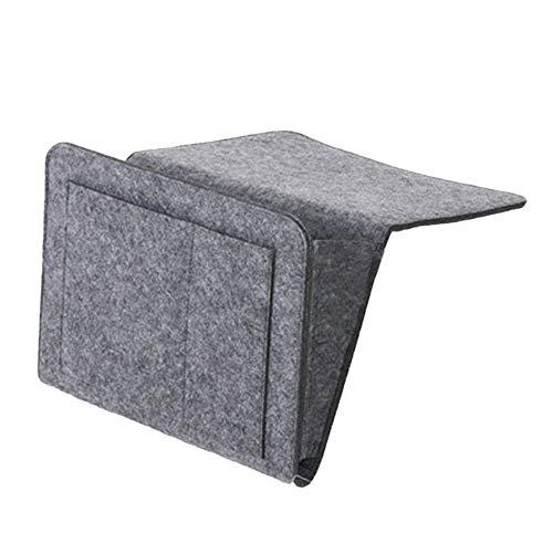 BGROEST Organizador de almacenamiento de fieltro para mesita de noche, para cama, escritorio, sofá, TV, mando a distancia (color: gris, tamaño: 300 ml)
