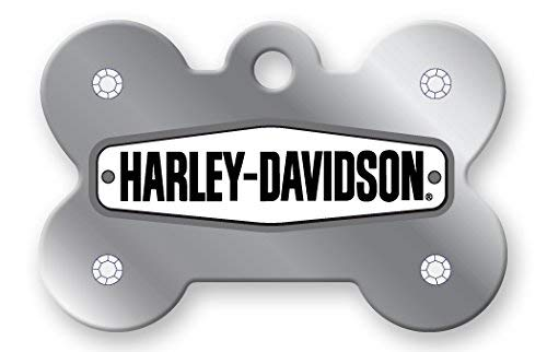 Harley Davidson Chrome Stones Diva Pet I.D. Tag - Large Bone