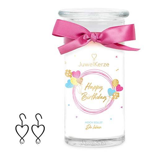 JuwelKerze Happy Birthday, große Duftkerze (Süssigkeiten, 1020g, 95-125 Std. Brenndauer) in Weiß mit 925er Sterling Silber Schmuck, Ohrringe