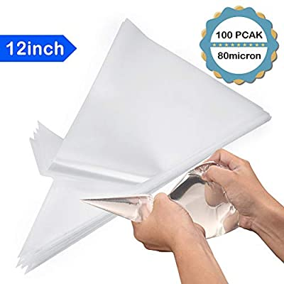 Kasmoire 12inch Disposable Pastry Icing Bags (100 Pack), Anti-Burst,Extra Thick,Fit All Size Tips and Couplers for Cake Cookie Decorating Royal Icing