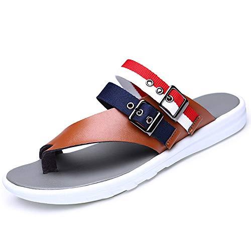 MC des Sandales 2019 Nouveaux Sandales et Pantoufles d'été pour Hommes, Tongs, Chaussures de Plage antidérapantes pour Hommes en Cuir, Sandales en Cuir pincées Jeunes Sandales Homme