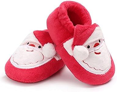 OULII Zapatos Bebe Primeros Pasos Navidad Pantuflas de Invierno Zapatillas Suaves de Peluche para Bebé 11cm (Rojo)