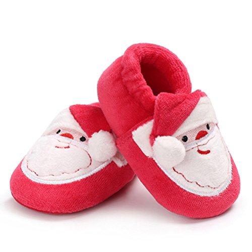 OULII Zapatos Bebe Primeros Pasos Navidad Pantuflas de Invierno Zapatillas Suaves de Peluche para Bebé (Rojo)