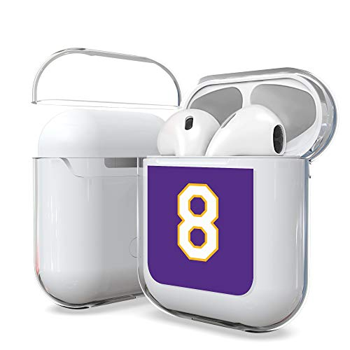 Customerfirst Airpods Case 1&2nd Gen, Hard PC Protective Transparent Clear Cover Case [LED Visible] Compatible with Apple AirPods Wireless Earphone Charging Case (Purple 8)
