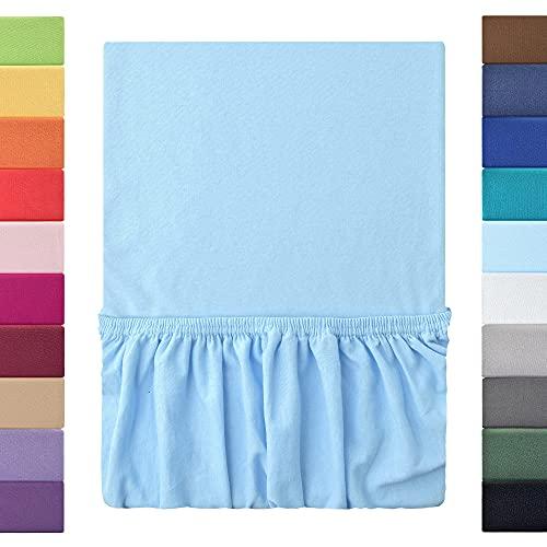 leevitex Sábana bajera ajustable, 100% algodón, marca de calidad, certificado Ökotex, 180 x 200 - 200 x 200 cm, color azul claro y azul claro