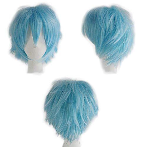 Perruque Femme Deguisement Cosplay Cheveux Court Femme Homme Fibre Synthetique Costume Unisex Halloween Carnaval - Bleu Clair