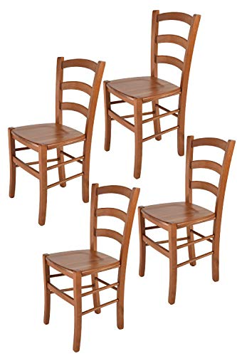 Tommychairs sillas de Design - Set 4 sillas Modelo Venice para Cocina, Comedor, Bar y Restaurante, con Estructura en Madera Color Cerezo y Asiento en Madera