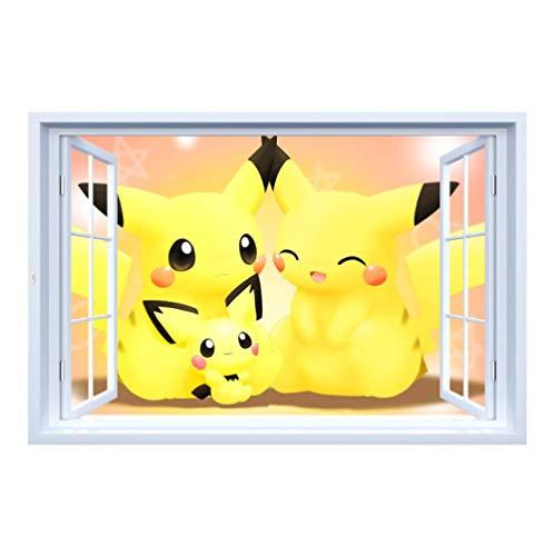 3d Muursticker Nep Fotolijst Cartoon Pokemon Pikachu Family 60x90cm Wanddecoratie Behang Voor Slaapkamer Woonkamer Kinderkamer