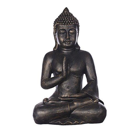 Willken Arts großen Buddha B4002 Bronze für Innen und Außen, Buddha Figur XL 56cm hoch, Buddha Statue groß, Büste, Gartendekoration sehr feine Strukturen