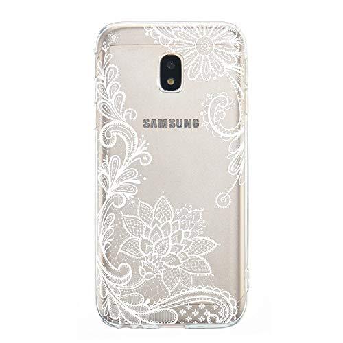Miagon Transparente Custodia per Galaxy J7 2017,Silicone Cover per Galaxy J7 2017, Bella Fiore Serie Bianco Fiore TPU Protettiva Rigida Copertura Cover per Samsung Galaxy J7 2017