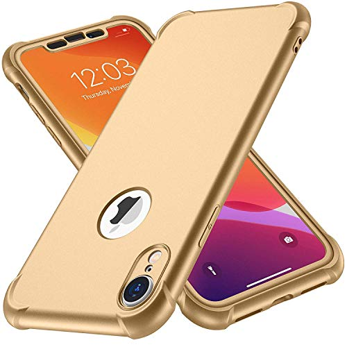iPhone XR Case, with[2 x Tempered Glass Screen Protector] ORETech 360 Full Body Shockproof Anti-Scratch Protection Cover Ultra-Thin Hard PC + Soft Rubber Silicone Case for iPhone XR 6.1'' 2018 - Gold
