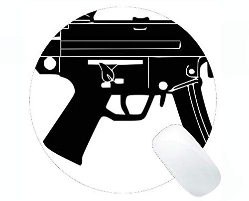 Custom Original Leopard Series Round Mouse Pad, Guns Ammunition Assault Rifle Round Mouse Pad with Stitched Edge