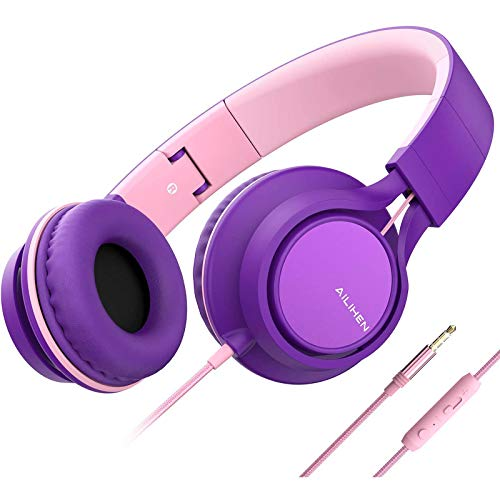 AILIHEN C8 (Upgraded) Headphones with Microphone and Volume Control Folding Lightweight Headset for Cellphones Tablets Smartphones Laptop Chromebook Computer PC Mp3/4 (Purple Pink)