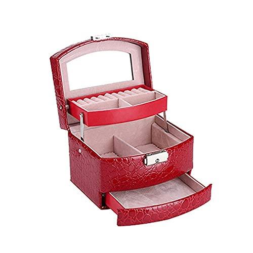 ROSG Joyero-Caja de joyería múltiple de Doble Capa Anillo Simple Pulsera Caja de Almacenamiento de Collar de joyería (Color: A)