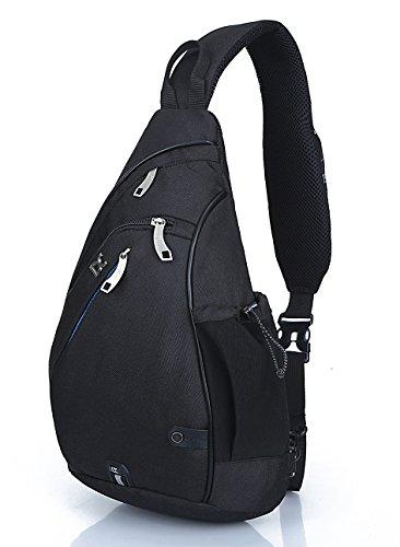 HASAGEI Sport Rucksack Schultertasche Sling Bag Herren und Damen Crossbag Brust Tasche für Wandern Camping Schule (Schwarz)
