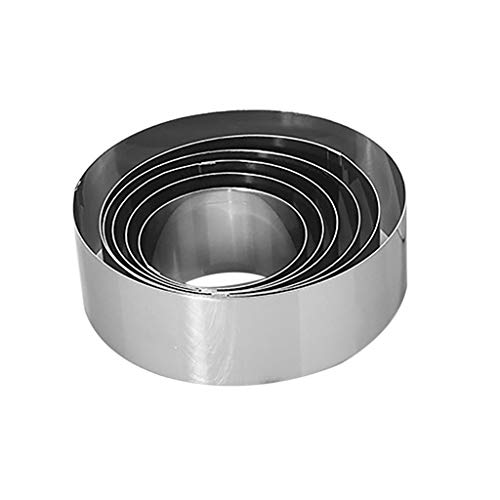 YJYdada Round Mousse Cake Food Grade Stainless Steel Pastry Ring For Baking 6pcs
