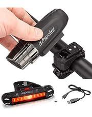 Cycleafer® Fietsverlichting set, USB oplaadbare fietsverlichting, Super KRACHTIGE lumen, Fietslichten set, LED fietsverlichting voor + GRATIS fietsverlichting achter, Mountain Zaklamp