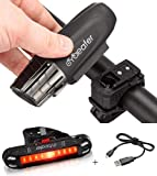 Cycleafer® Éclairage Vélo Bicyclettes VTT USB Rechargeable Avant & Arrière Ultra Puissant Lumineuses Parfait pour Augmenter la Sécurité des Cyclistes la nuit Résistance à l'eau Facile Installer
