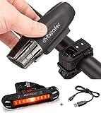 Cycleafer® Luz Bicicleta Recargable USB, GARANTÍA DE 3 años Linterna Bicicleta con Luz Bicicleta Delantera, y Luz Trasera Bicicleta, Luz LED Bicicleta para Carretera y Montaña