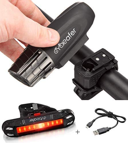 Cycleafer Bike Lights Set, USB Rechargeable Cycling light, 3 YEAR WARRANTY, POWERFUL Lumens, BICYCLE LIGHT, LED Front Bike Light + FREE TAILLIGHT Rear Bike Light, Mountain Flashlight - UK COMPANY