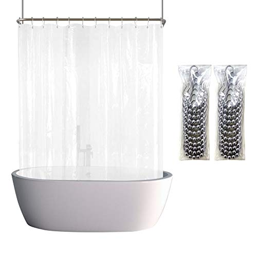 YISURE Shower Curtain Set Clawfoot Tub Liner Wrap Around Waterproof PEVA Extra Wide Curtain with 6 Magnets for Bathroom Decor Hotel Grade, Include 32 Pack Hooks, Clear, 180x70 Inch