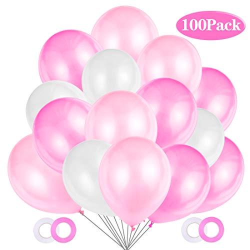JOJOR 100 Stück Luftballons Rosa Weiß Pink,Helium Luftballons Rosa, Perle Latex Ballons Helium für Hochzeit Geburtstag und Mädchen Taufe Kommunion Party Deko,3 Farben