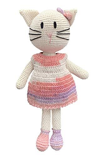 LOOP BABY gehäkelte Katze Kati in bunt - gehäkeltes Kuscheltier für Baby/Mädchen/Junge aus Baumwolle