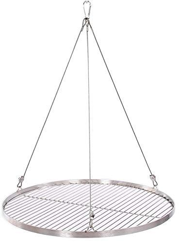 45 cm Grillrost Edelstahl für Schwenkgrill 3 Bein BBQ Grill Rost mit Seil 14 mm Stababstand