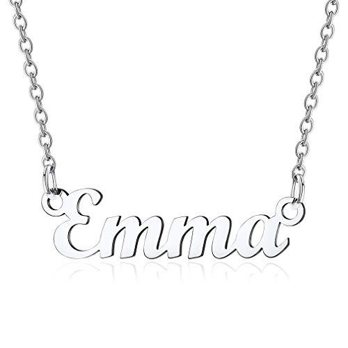 Custom4U Edelstahl Namenskette Emma Damen Halskette in Carrie Stil Kette Silberfarbe Namenskette 45cm+5cm Verlängerskette für Freundin Mutter Schwester