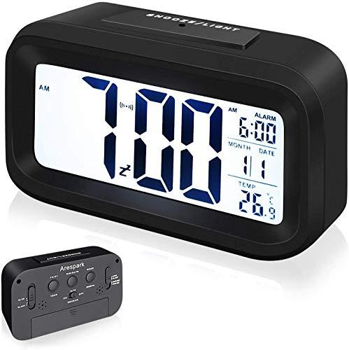 Arespark Despertador Digital, LED Reloj Alarma Electrónico con Luz de Noche, Pantalla LED de 5.3 Pulgadas con Hora, Fecha, Temperatura, Función Snooze 【Versión Avanzada】