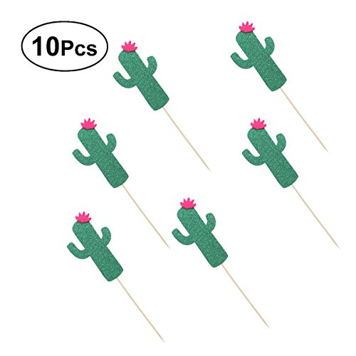 BESTOYARD Kuchen Topper Kaktus Cupcake Toppers Kuchen Picks Kuchen Dekoration für Geburtstag Hawaii Luau Party 10 Pcs (Deep Green)