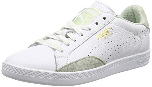 PUMA Damen Match Lo Basic Sports Tennisschuhe, Weiß Weiß Liliengrün, 38.5 EU