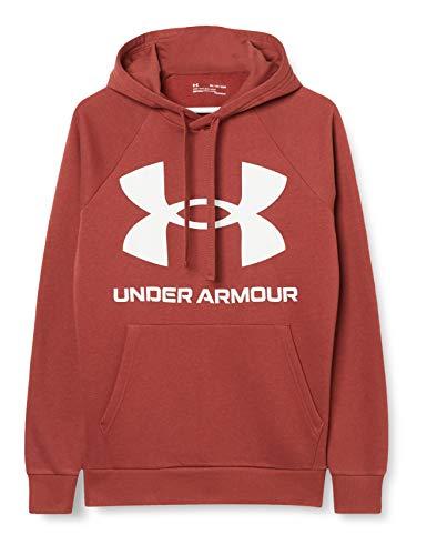 Under Armour Felpa Con Cappuccio Rival Fleece Big Logo Felpa Con Cappuccio, Uomo, Cinna Red / / Onyx White (688), LG
